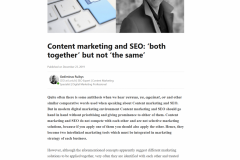 "Content marketing and SEO: ""both together"" but not ""the same"""
